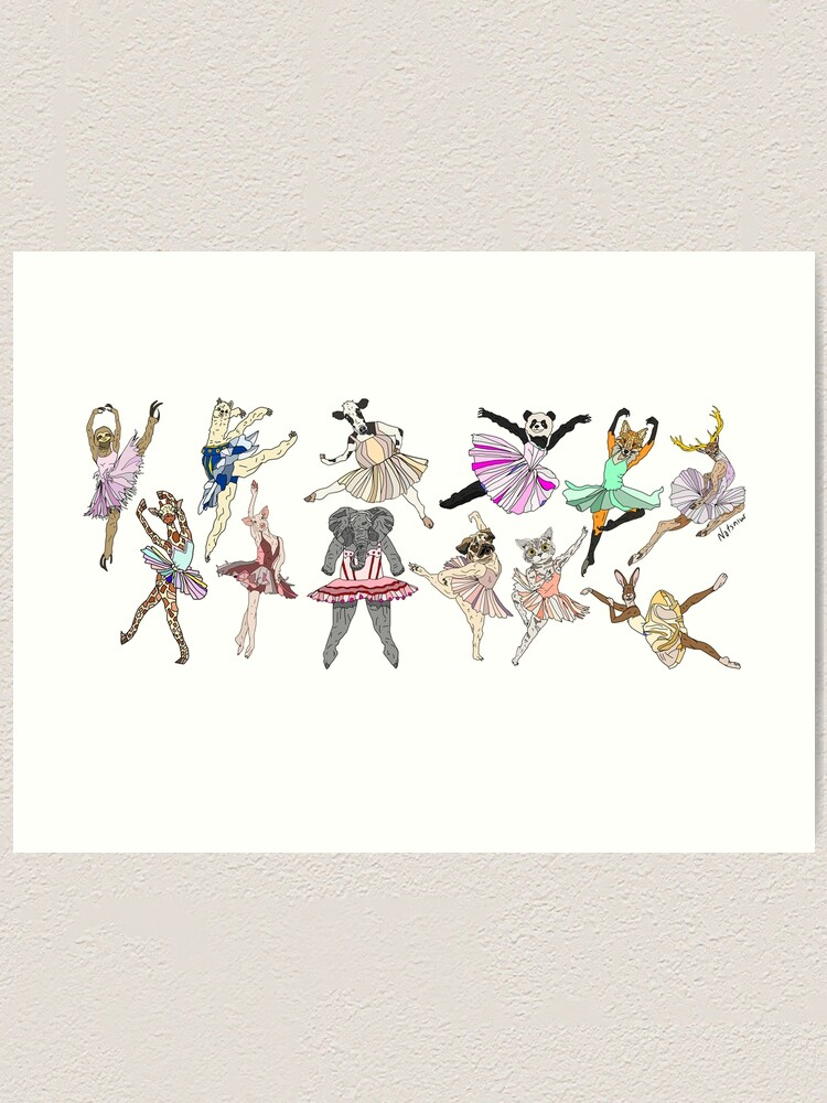 Alternate view of Animal Ballerinas Row Art Print