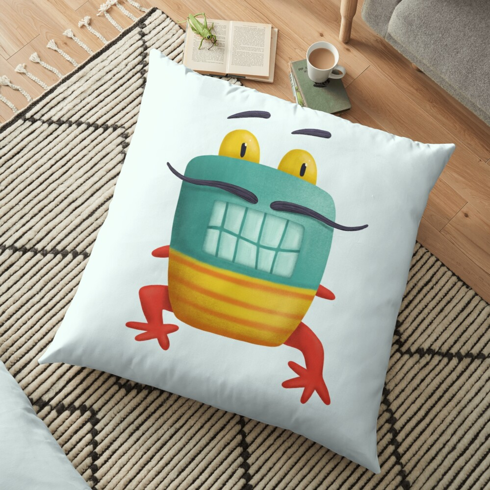 French frog monster creepy cute Floor Pillow