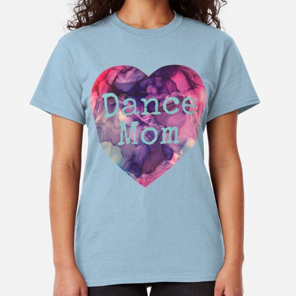 Dance Mom Heart made from Original Purple, blue, and Pink Alcohol Ink Painting Classic T-Shirt