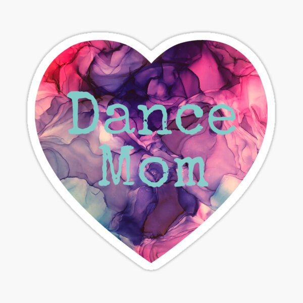 Dance Mom Heart made from Original Purple, blue, and Pink Alcohol Ink Painting Sticker