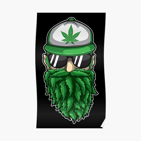 Beard from Cannabis Leaves - Weed Hipster Smoker Poster
