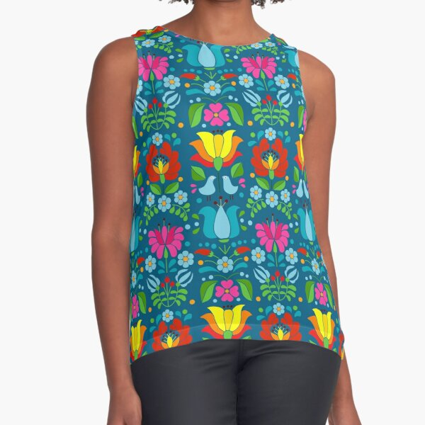 Hungarian bohem floral Sleeveless Top