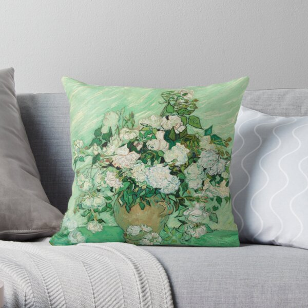 Vincent van Gogh: Still Life: Vase with Pink Roses Throw Pillow