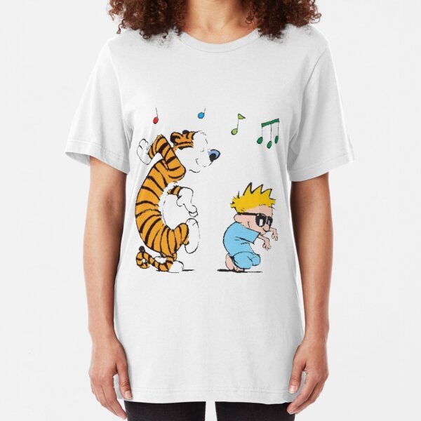 funny calvin and tigers Slim Fit T-Shirt