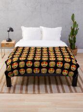 Love Hamburger Emoji JoyPixels Funny Burger Lover Throw Blanket