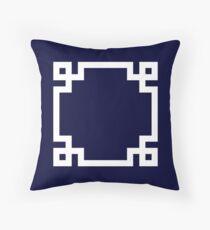 Greek Key Square White On Navy Blue Throw Pillow