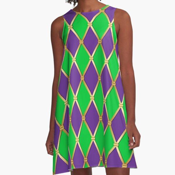 Harlequin Mardi Gras A-Line Dress