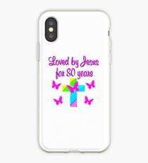 CHRISTIAN 80TH BIRTHDAY RAINBOW AND CROSS iPhone Case