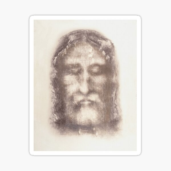 Shroud of Turin Face of Jesus Christ with Crown of Thorns Beige Vintage Background Painting HD High Quality Sticker