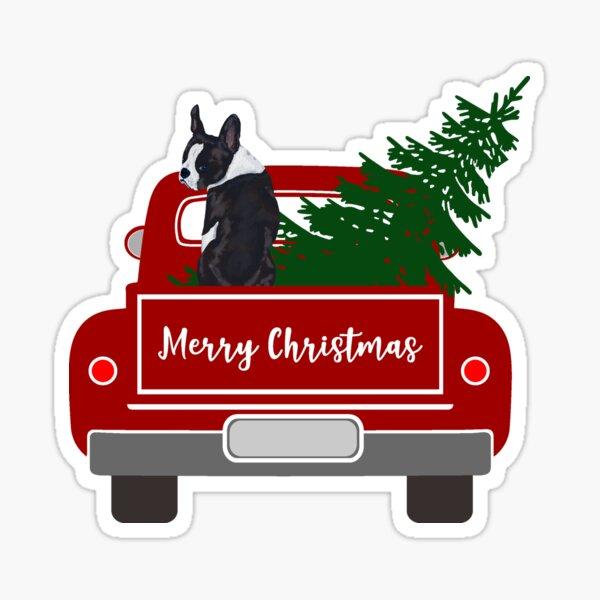 Boston Terrier - Christmas Tree- Red Retro Truck  Sticker