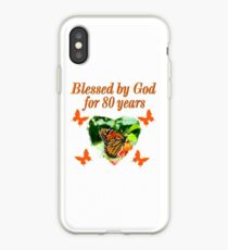 BLESSED BY GOD 80TH BIRTHDAY BUTTERFLY iPhone Case
