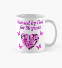 PINK WILDFLOWER BLESSED BY GOD 80TH BIRTHDAY Mug