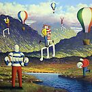 Soft Musicians in irish landscape with musical notes by Alan Kenny