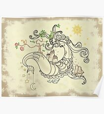 Gorgon Earth Mythology Color Cream Poster