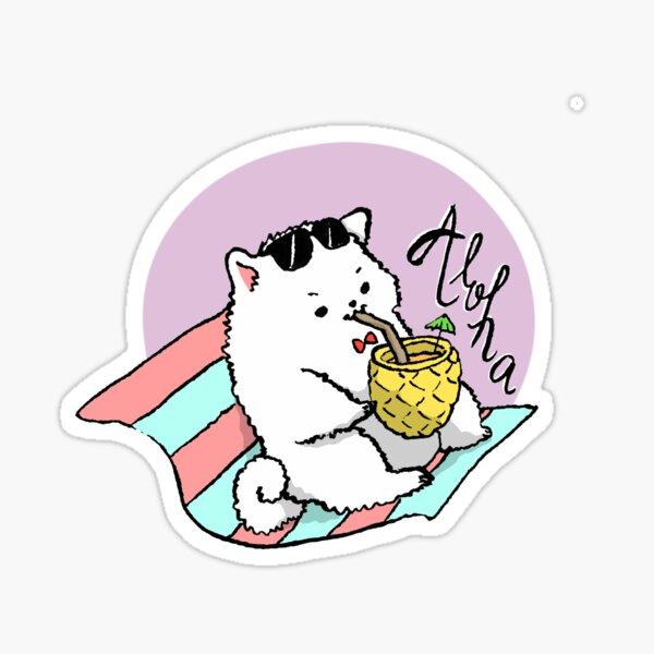 Bachoochi the Pomeranian Aloha Hawaii Vacation Sticker