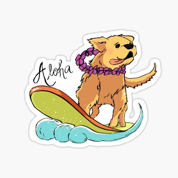 Aloha Surfing Dog Sticker