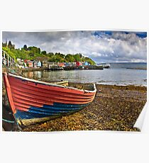 Old boat in Tobermory harbour Poster