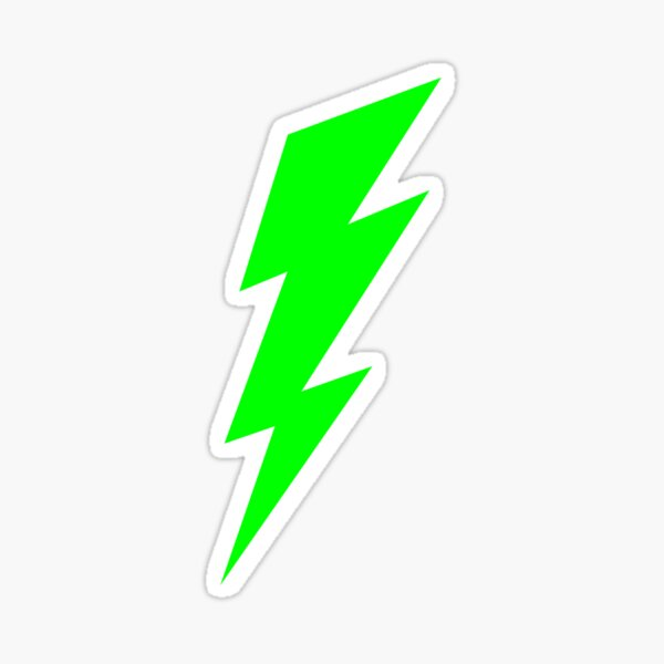 neon green lime lightning bolt Sticker