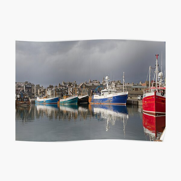 Fraserburgh Colourful Fishing Boats Harbour Scene Poster
