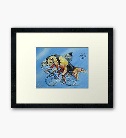 Clown Loach on a Bicycle Framed Print