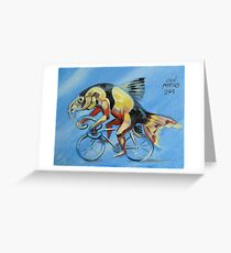 Clown Loach on a Bicycle Greeting Card