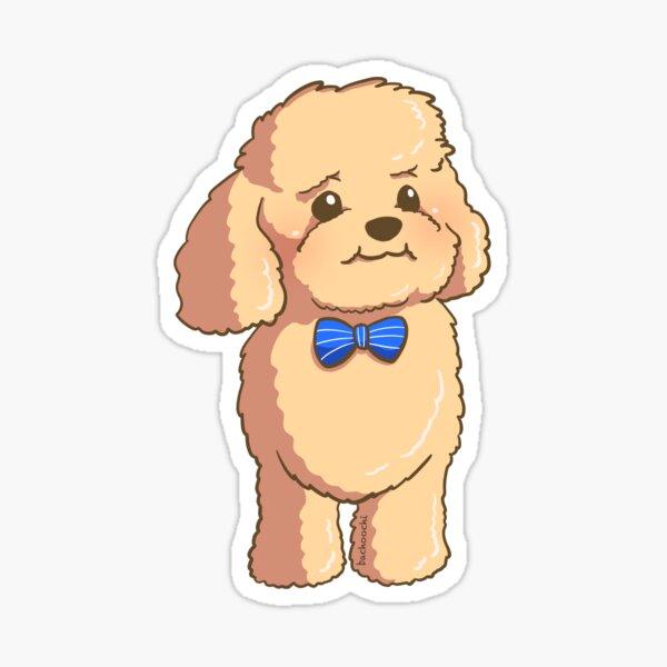 Mini poodle bow tie ribbon puppy Sticker