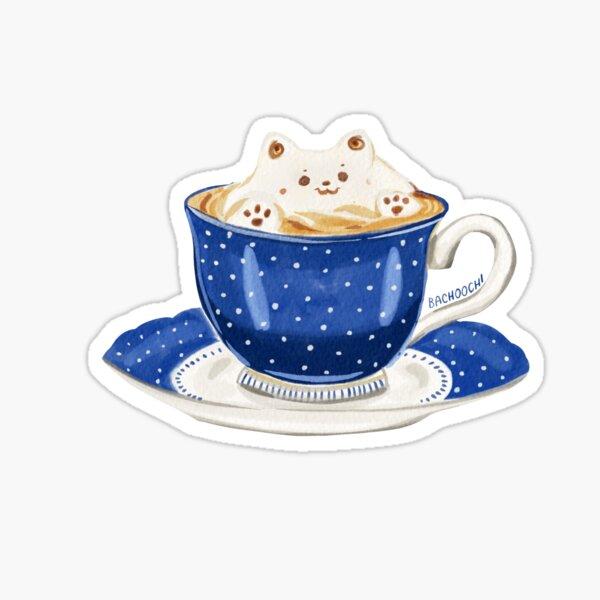 Latte art foam dog tea cup coffee Sticker