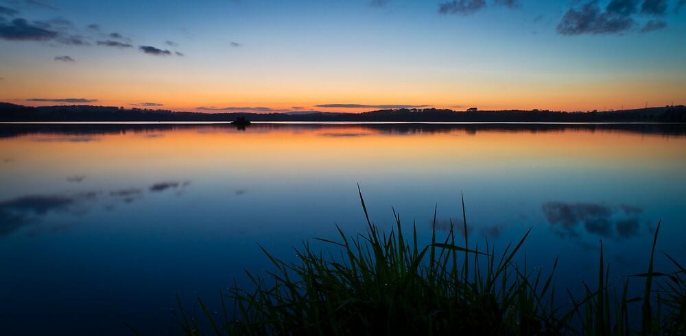 Loch of Skene Technicolor Sunset Reflections by Bill Buchan
