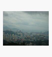 dark rainclouds threatening towering city Photographic Print