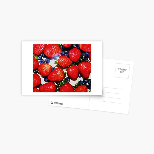 red bright and blueberries Postcard