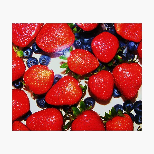 red bright and blueberries Photographic Print