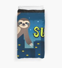 Sloth says sup in the city Duvet Cover