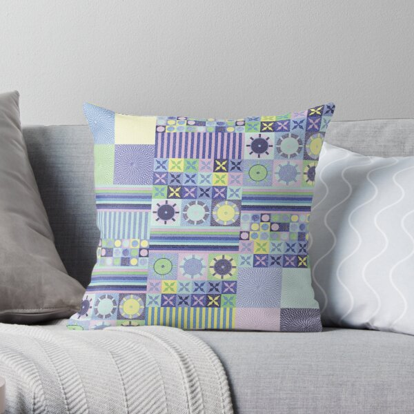 Grandma's Pretty Faux Crocheted Blanket in Blue, Purple, Pink, Green and Yellow Pastel Color Throw Pillow