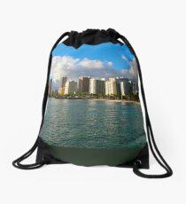 Waikiki Beach, Honolulu OAHU Drawstring Bag