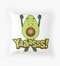 Yaaasss Avocado Emoji JoyPixels Happy Avocado  Throw Pillow