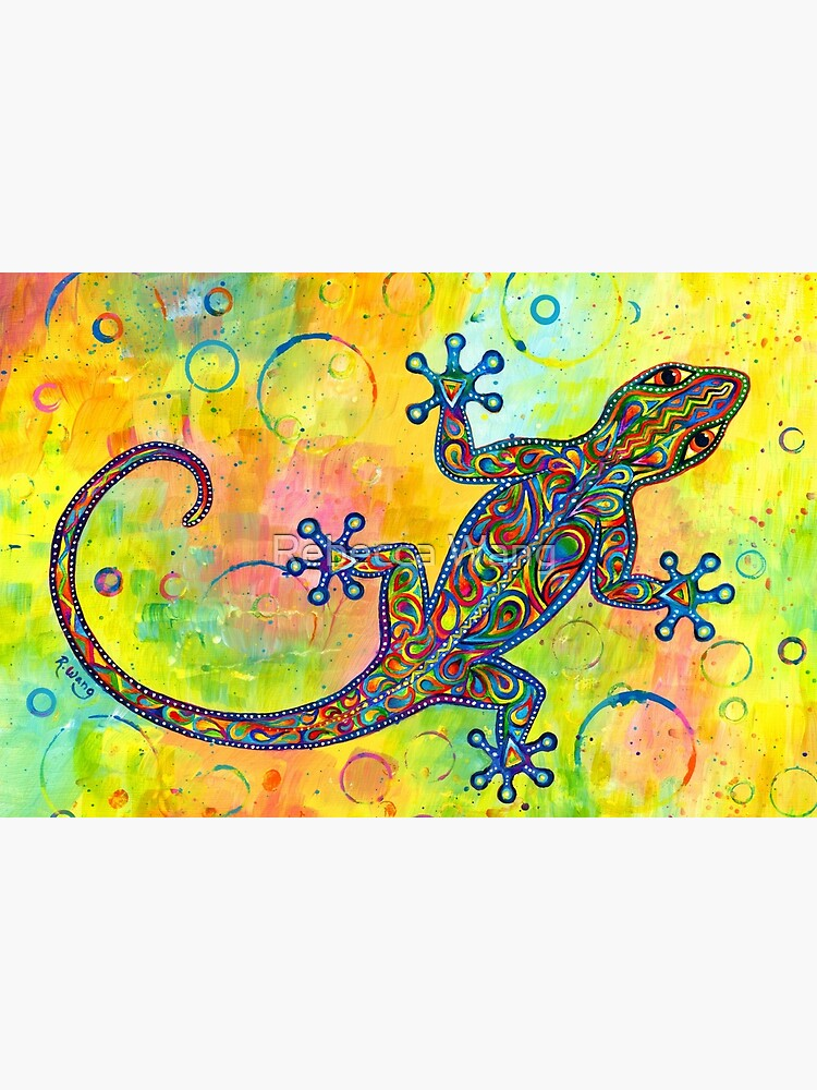 Electric Gecko Psychedelic Paisley Lizard by lioncrusher
