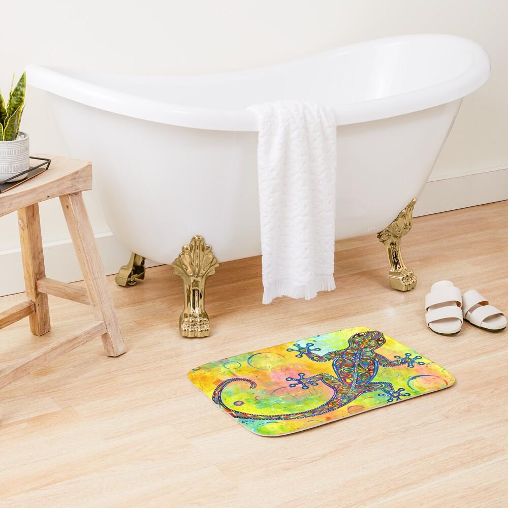 Electric Gecko Psychedelic Paisley Lizard Bath Mat