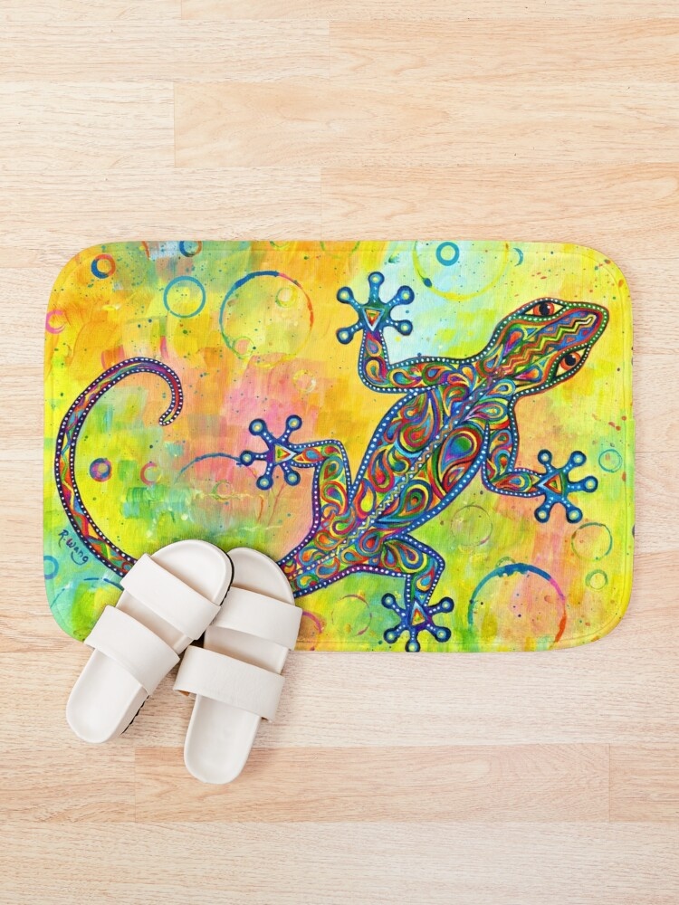 Alternate view of Electric Gecko Psychedelic Paisley Lizard Bath Mat