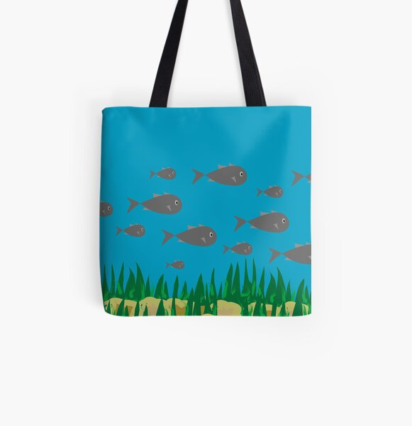 With the Fish All Over Print Tote Bag