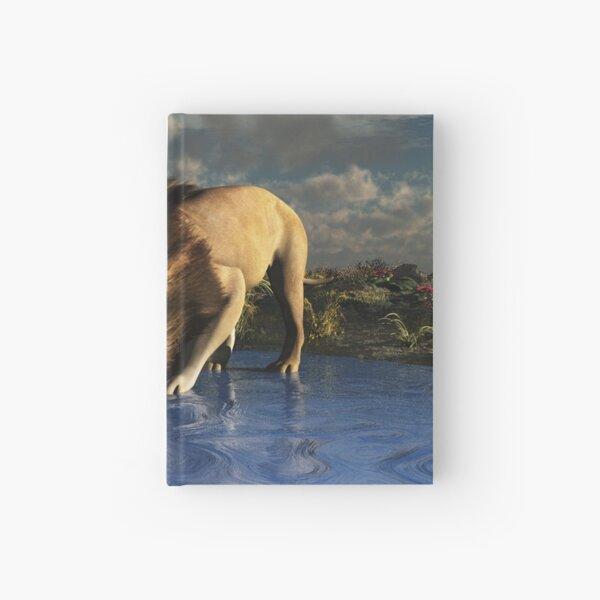 Lion Drinking at Waterhole Hardcover Journal