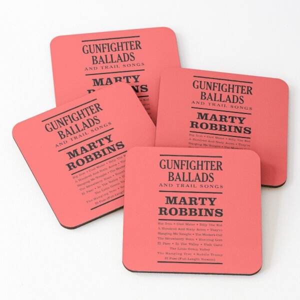 GUNFIGHTER BALLADS AND TRAIL SONGS MARTY ROBBINS  Coasters (Set of 4)