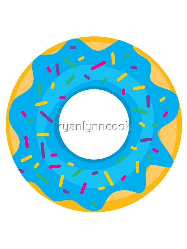 Quot Donut With Blue Icing And Rainbow Sprinkles Quot Stickers By