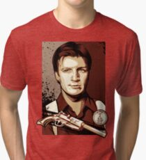 Malcolm Reynolds from Firefly in Shepard Fairey Obama Poster Style Tri-blend T-Shirt