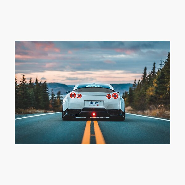 white gtr car in the road Photographic Print