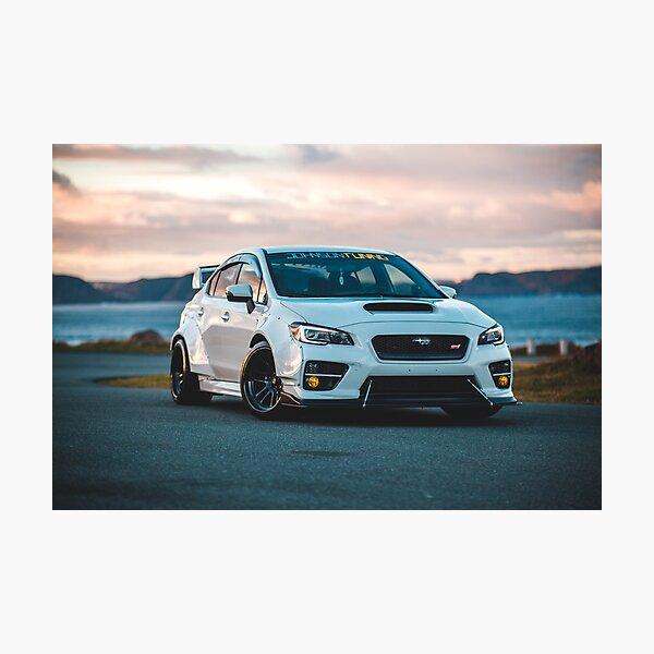 wrx sti car in sunset Photographic Print
