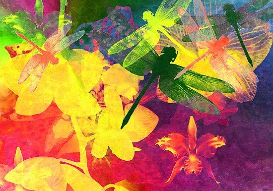 Dragonflies & Orchids. Modern Art. by Vitta