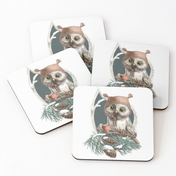 Snow owl in a cute hat Coasters (Set of 4)