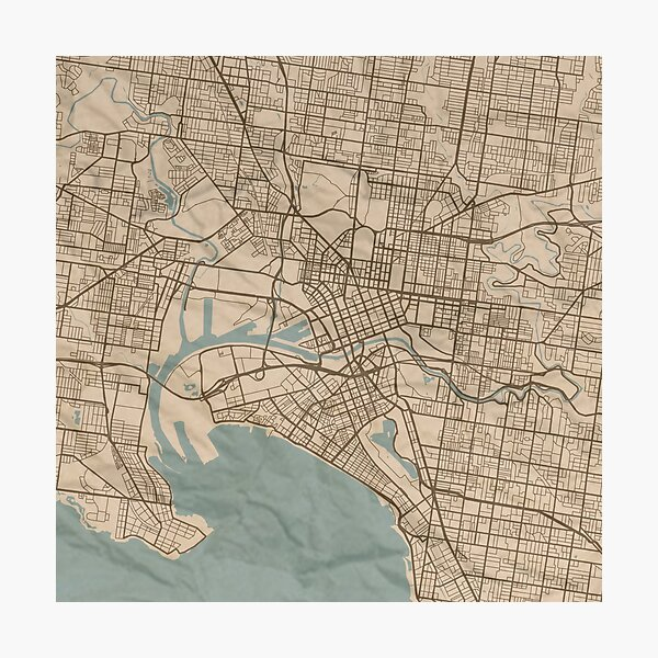 Melbourne Sepia Map Photographic Print