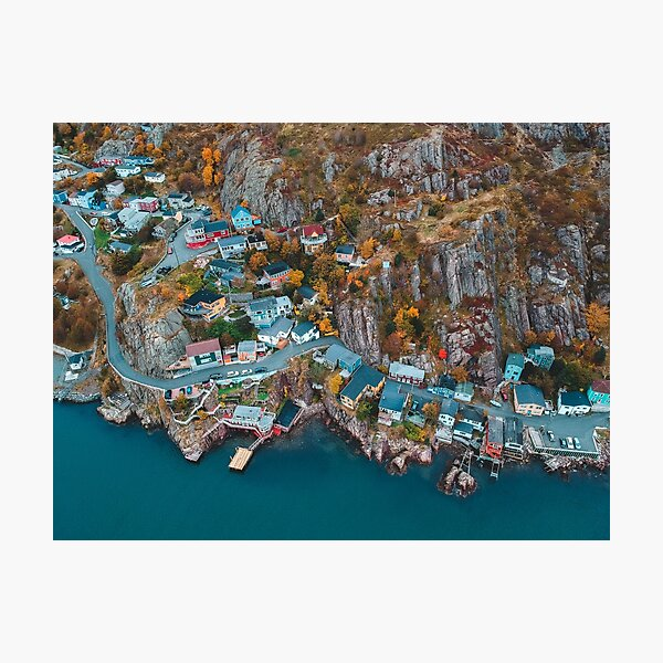drone photo of houses on cliff Photographic Print