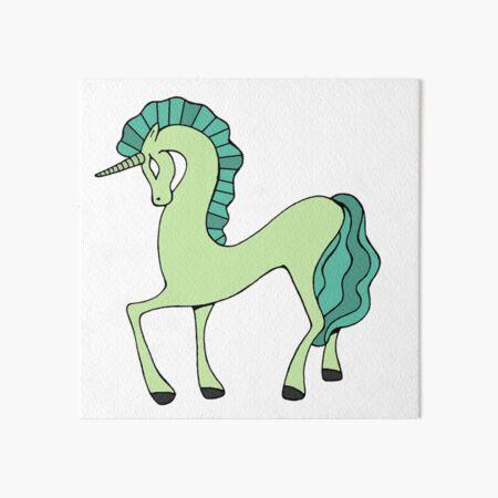 Magical Unicorn Green  Art Board Print